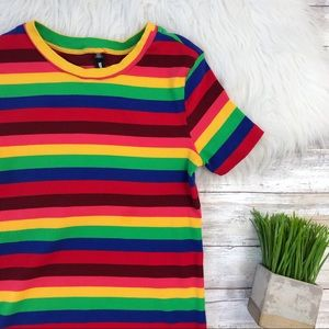 Design Lab Lord & Taylor Rainbow Striped Tee